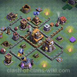 Best Builder Hall Level 4 Anti 3 Stars Base with Link - Copy Design 2021 - BH4 - #46