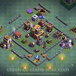 Best Builder Hall Level 4 Anti 3 Stars Base with Link - Copy Design 2021 - BH4 - #48