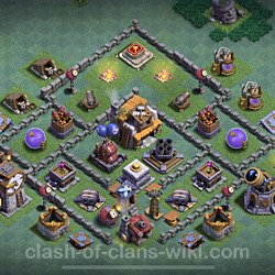 Best Builder Hall Level 5 Anti 2 Stars Base with Link - Copy Design 2021 - BH5 - #91
