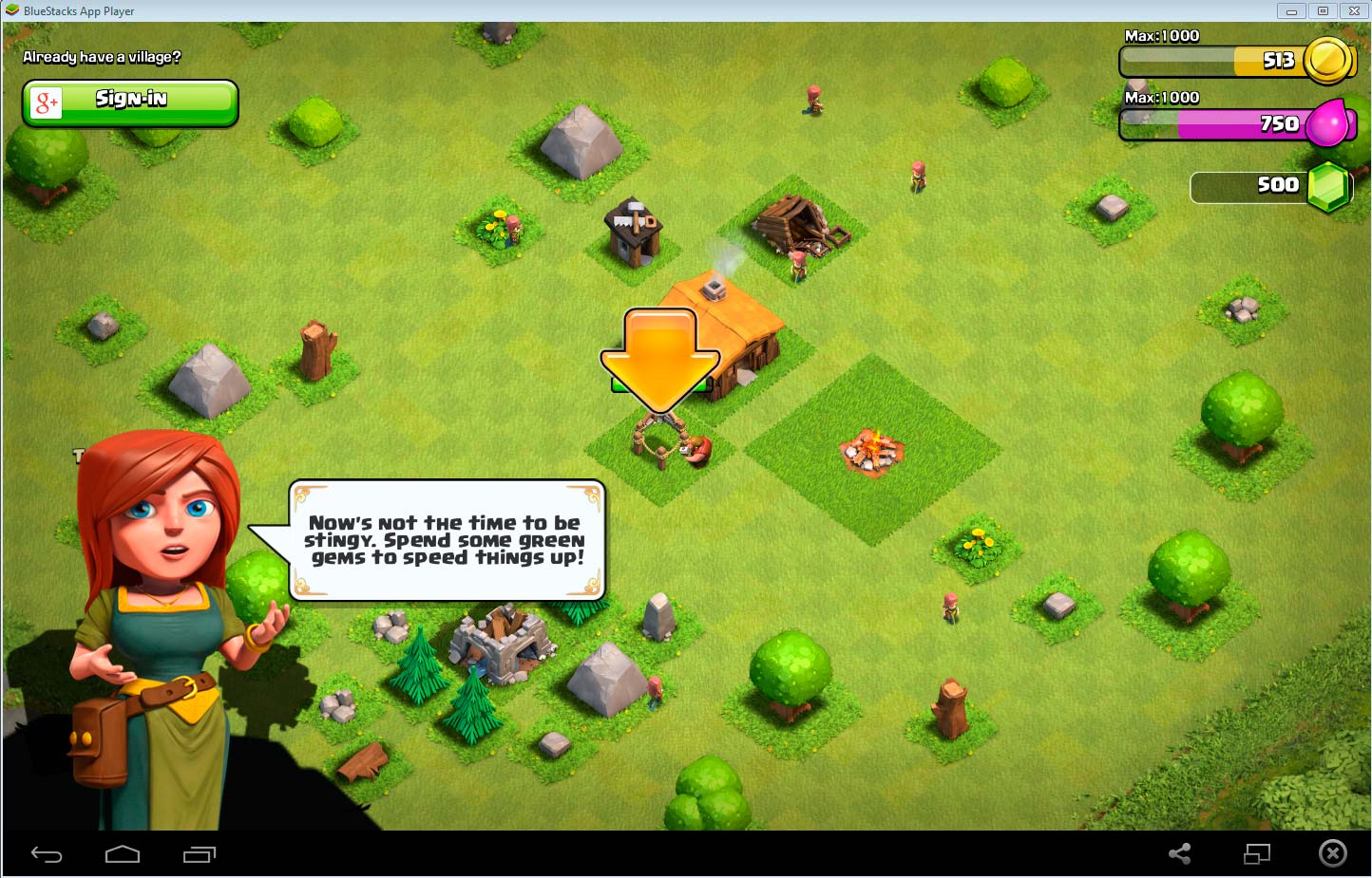 View of Clash of Clans gameplay on PC