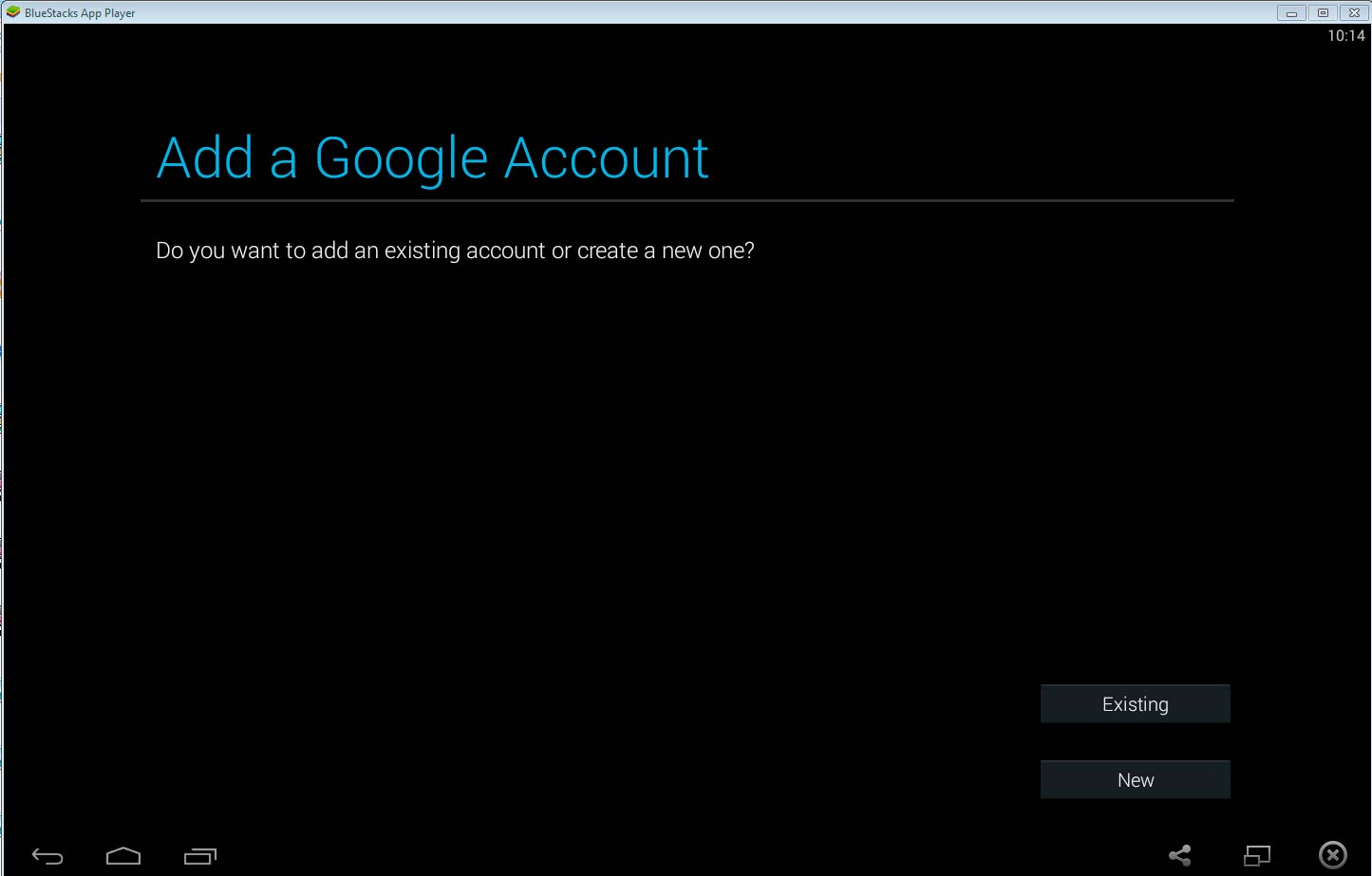 Create Google account or select existing account