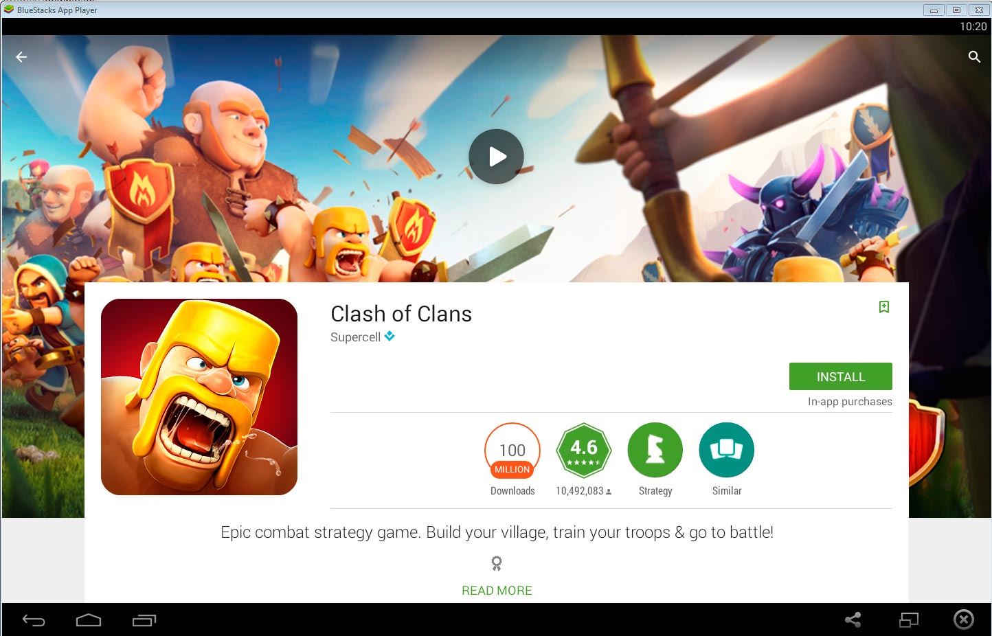Clash of Clans está indicado en Google Play