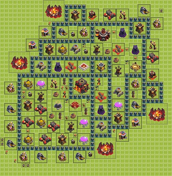 Best trophy (defense) base layouts for Clash of Clans - TH 10 / Town