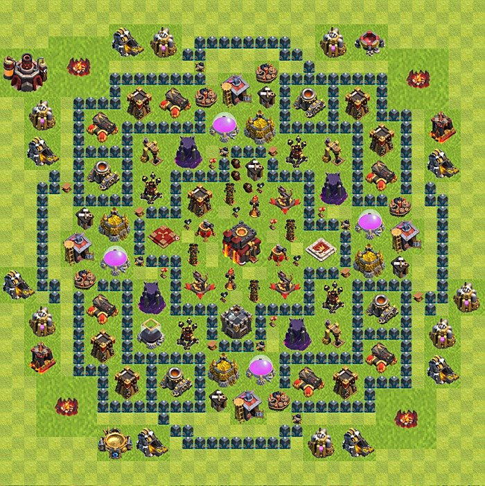 Base plan for trophies collection in TH 10, variant 51