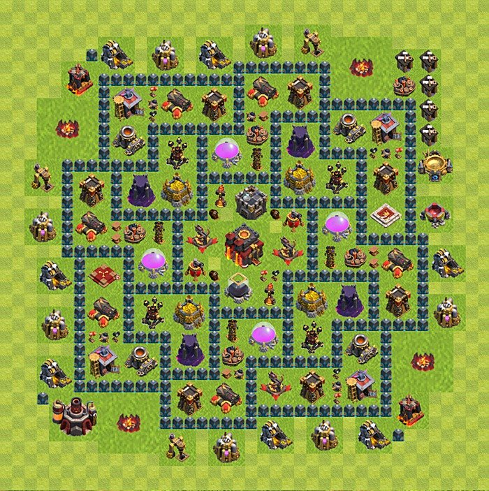 Base plan for trophies collection in TH 10, variant 56