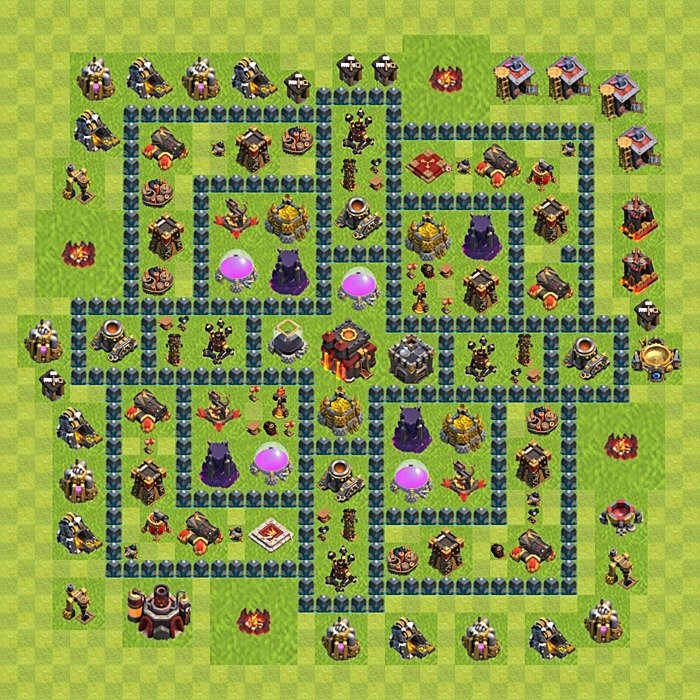Base plan for trophies collection in TH 10, variant 59