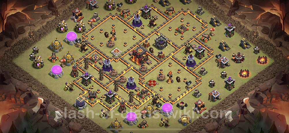 TH10 War Base Plan with Link, Copy Town Hall 10 CWL Design 2021, #92