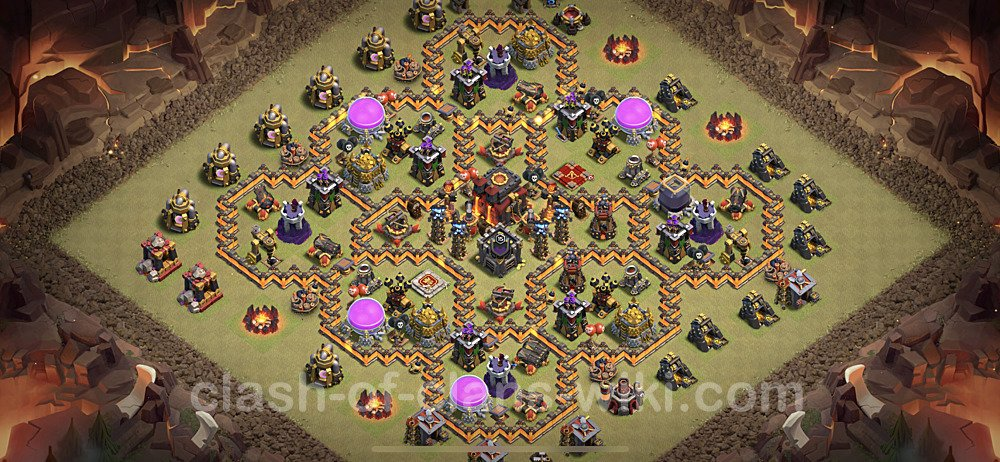 TH10 Anti 3 Stars War Base Plan with Link, Copy Town Hall 10 CWL Design 2021, #95