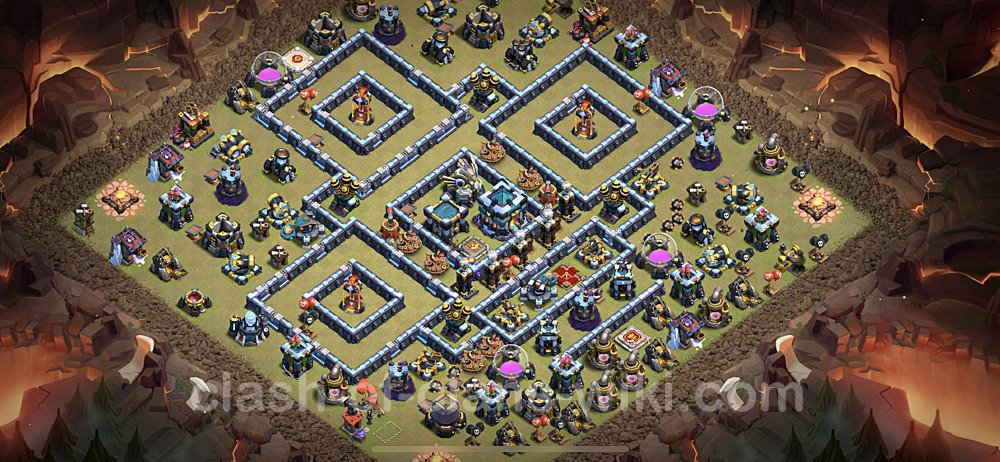 TH13 War Base Plan with Link, Copy Town Hall 13 CWL Design 2021, #128