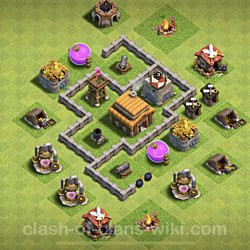 Base plan (layout), Town Hall Level 3 for trophies (defense) (#139)