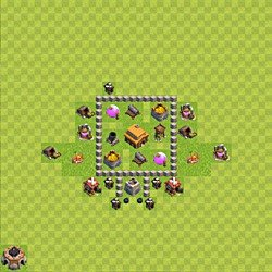 Base plan (layout), Town Hall Level 3 for trophies (defense) (variant 32)