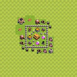 Base plan (layout), Town Hall Level 3 for trophies (defense) (variant 34)