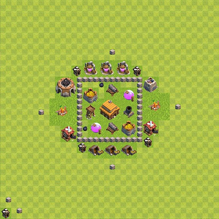 Base plan for trophies collection in TH 3, variant 36