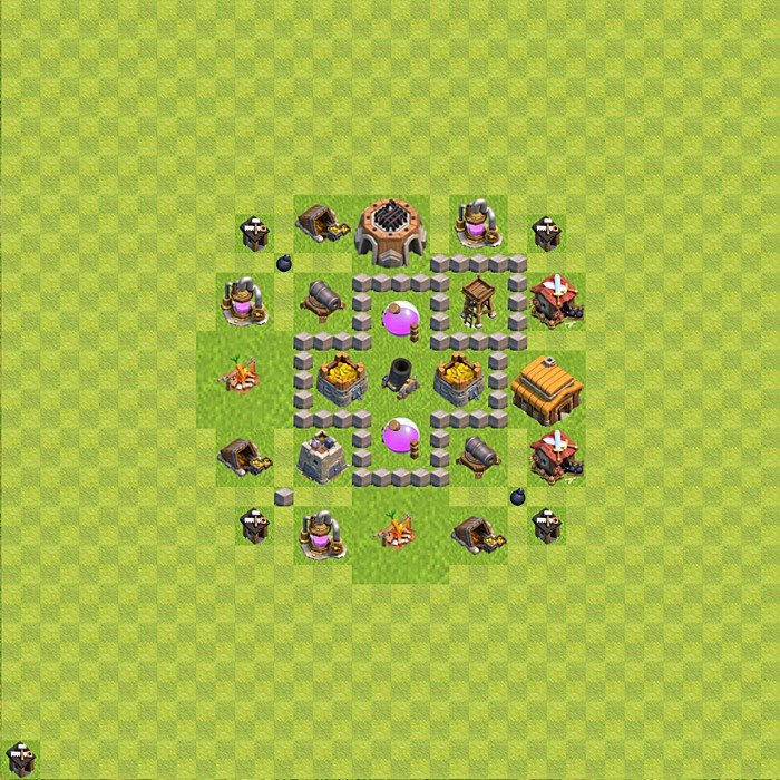 Base plan (design / layout) for Farming on TH 3, variant 32