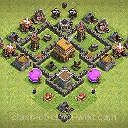Base plan (layout), Town Hall Level 4 for trophies (defense) (#60)