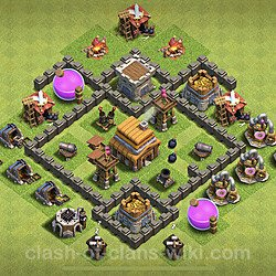 Base plan (layout), Town Hall Level 4 for trophies (defense) (#61)