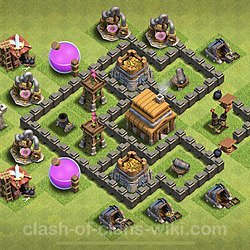Base plan (layout), Town Hall Level 4 for trophies (defense) (#62)