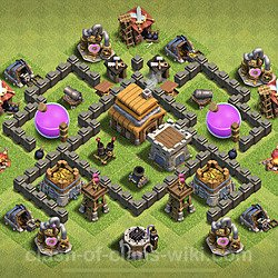 Base plan (layout), Town Hall Level 4 for trophies (defense) (#63)