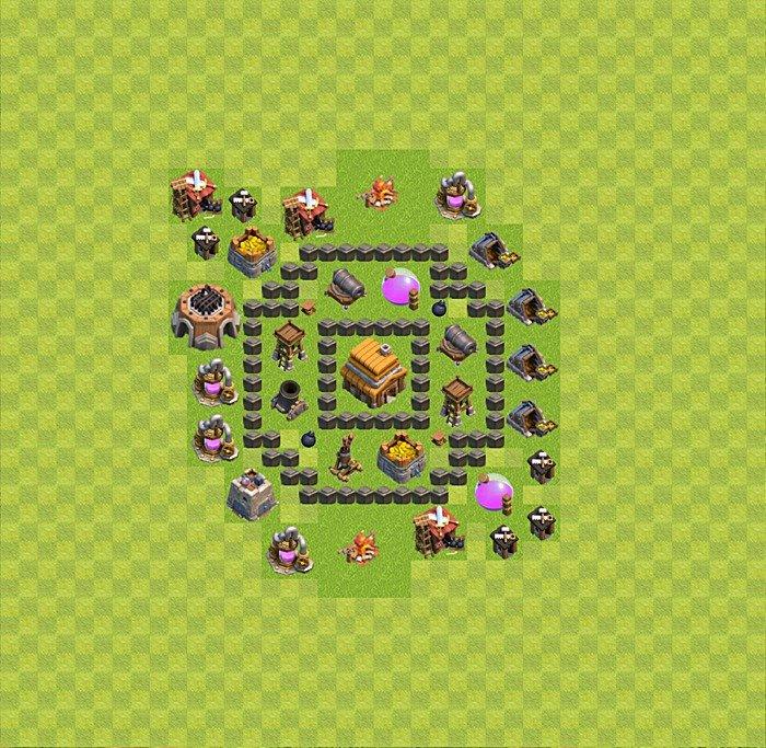 Лучшие базы clash clans 4 ратуша