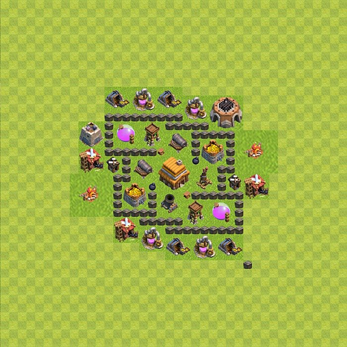 Base plan for trophies collection in TH 4, variant 45
