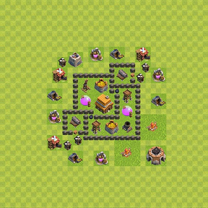 Base plan for trophies collection in TH 4, variant 46