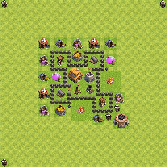 Base plan for trophies collection in TH 4, variant 49