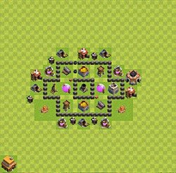Base plan (layout), Town Hall Level 4 for farming (variant 31)