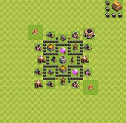 Base plan (layout), Town Hall Level 4 for farming (variant 32)