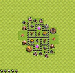 Base plan (layout), Town Hall Level 4 for farming (variant 33)