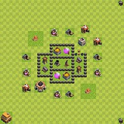 Base plan (layout), Town Hall Level 4 for farming (variant 40)