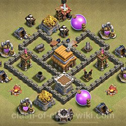 Base plan (layout), Town Hall Level 4 for clan wars (#15)