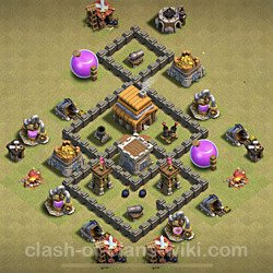 Base plan (layout), Town Hall Level 4 for clan wars (#16)