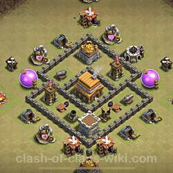 Base plan (layout), Town Hall Level 4 for clan wars (#17)