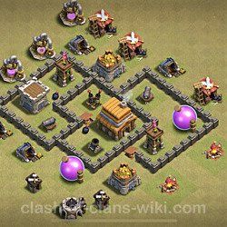 Base plan (layout), Town Hall Level 4 for clan wars (#18)