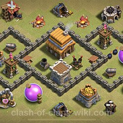 Base plan (layout), Town Hall Level 4 for clan wars (#19)