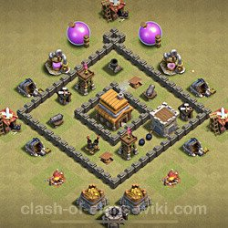 Base plan (layout), Town Hall Level 4 for clan wars (#20)