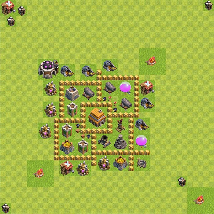 Base plan for trophies collection in TH 5, variant 75