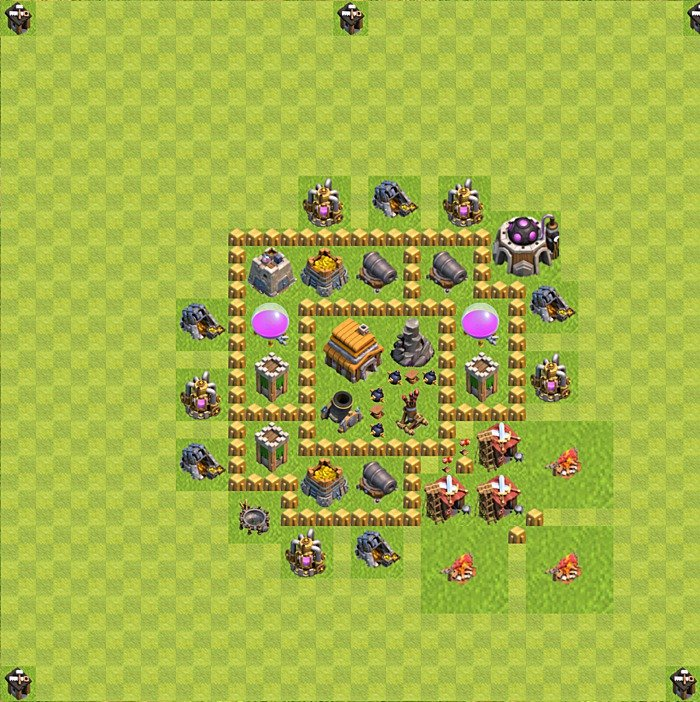 Base plan for trophies collection in TH 5, variant 76