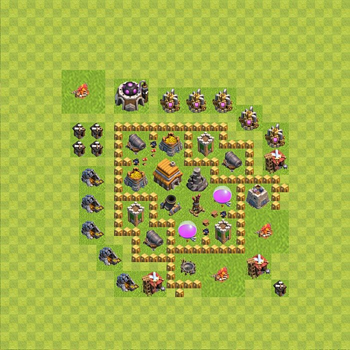 Base plan for trophies collection in TH 5, variant 77