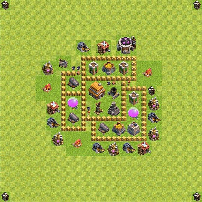 Base plan for trophies collection in TH 5, variant 79