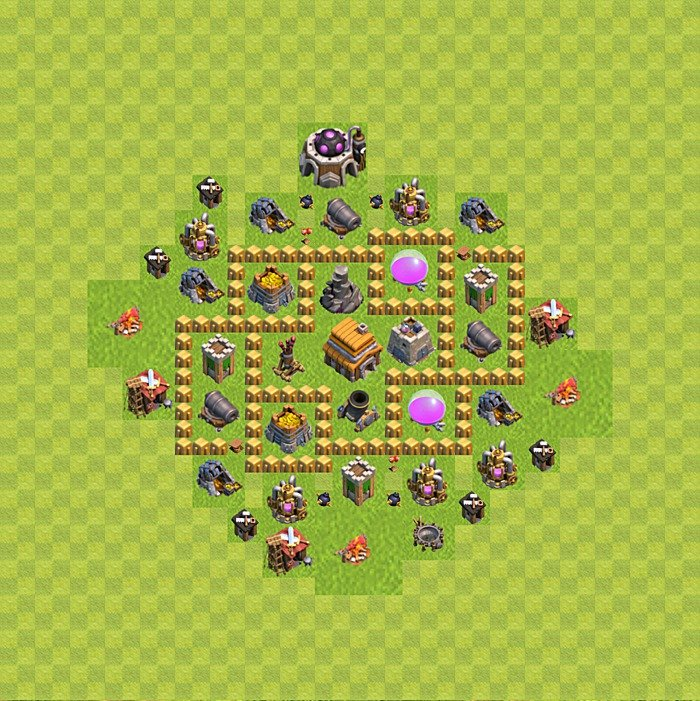 Base plan for trophies collection in TH 5, variant 80