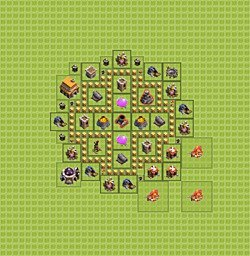 Base plan (layout), Town Hall Level 5 for farming (variant 6)