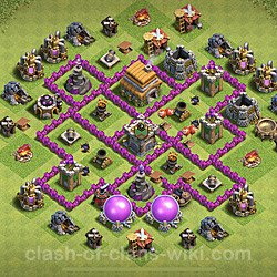 Base plan (layout), Town Hall Level 6 for trophies (defense) (#102)