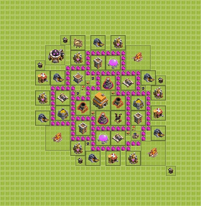 Trophy (defense) base plan (layout / design) TH 6 - Clash of Clans