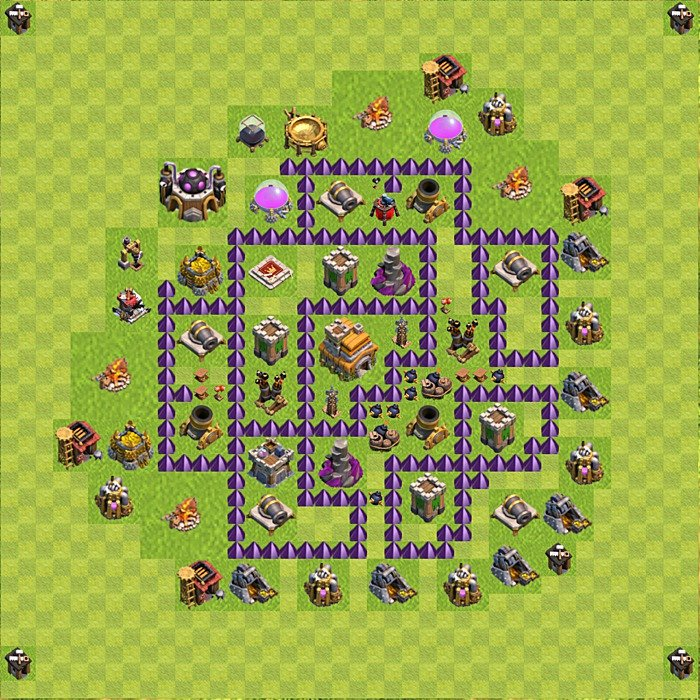 Base plan for trophies collection in TH 7, variant 114