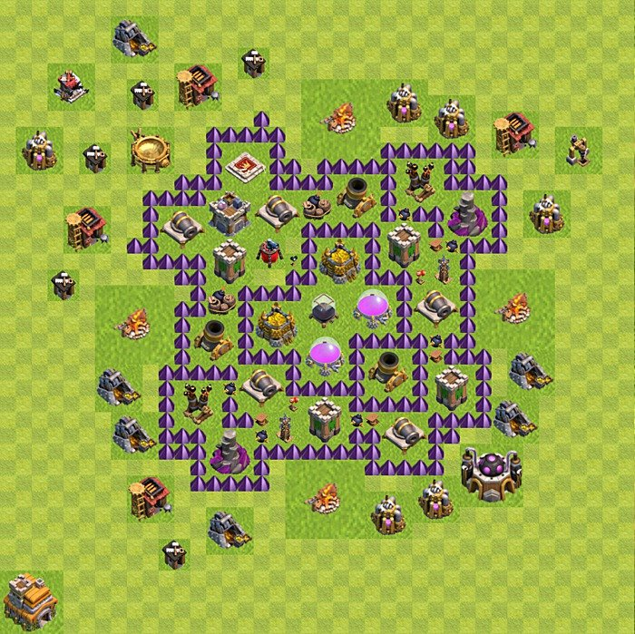 Base plan (design / layout) for Farming on TH 7, variant 153