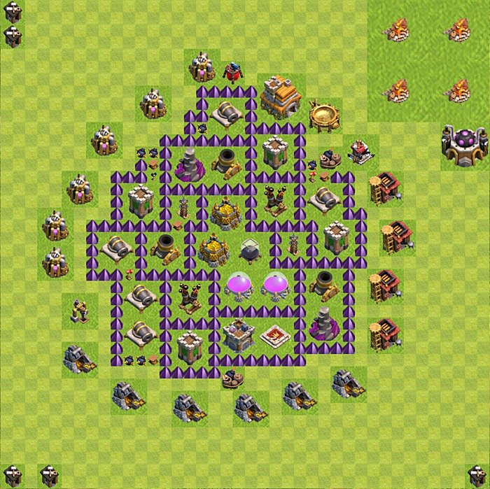 Base plan (design / layout) for Farming on TH 7, variant 154