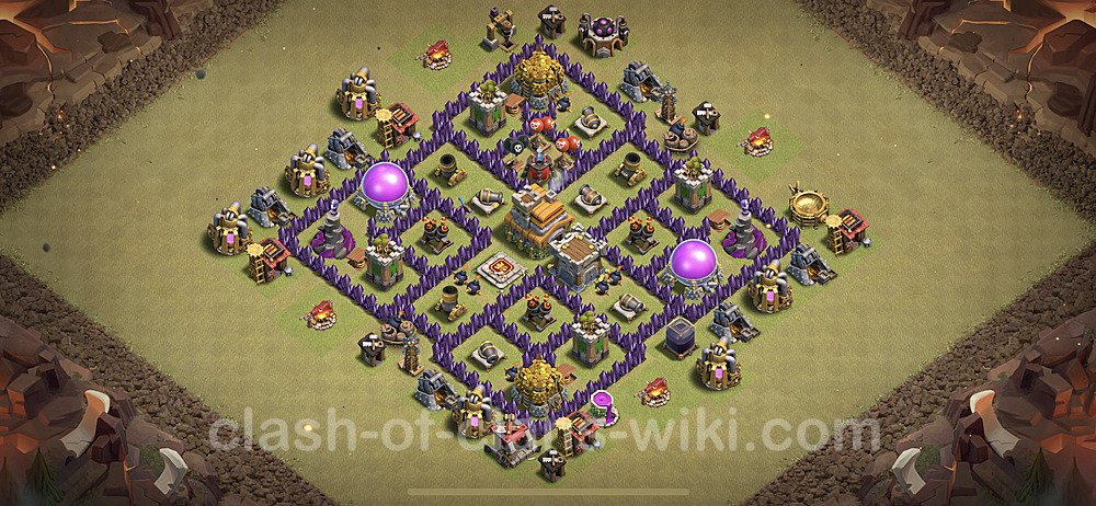 TH7 Anti 2 Stars War Base Plan with Link, Copy Town Hall 7 Design 2020, #6