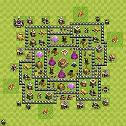 Base plan (layout), Town Hall Level 8 for trophies (defense) (variant 124)