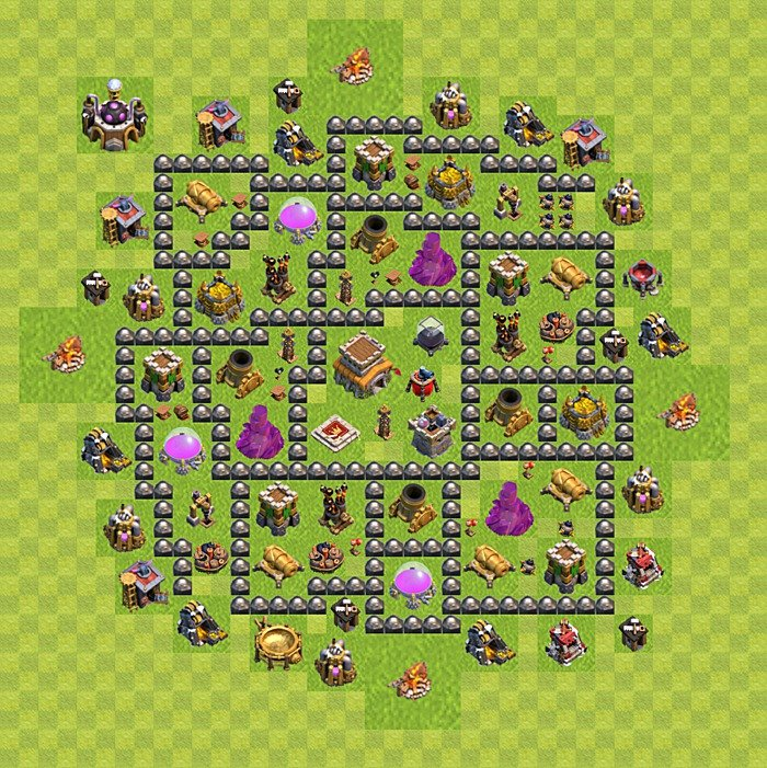 Base plan for trophies collection in TH 8, variant 121